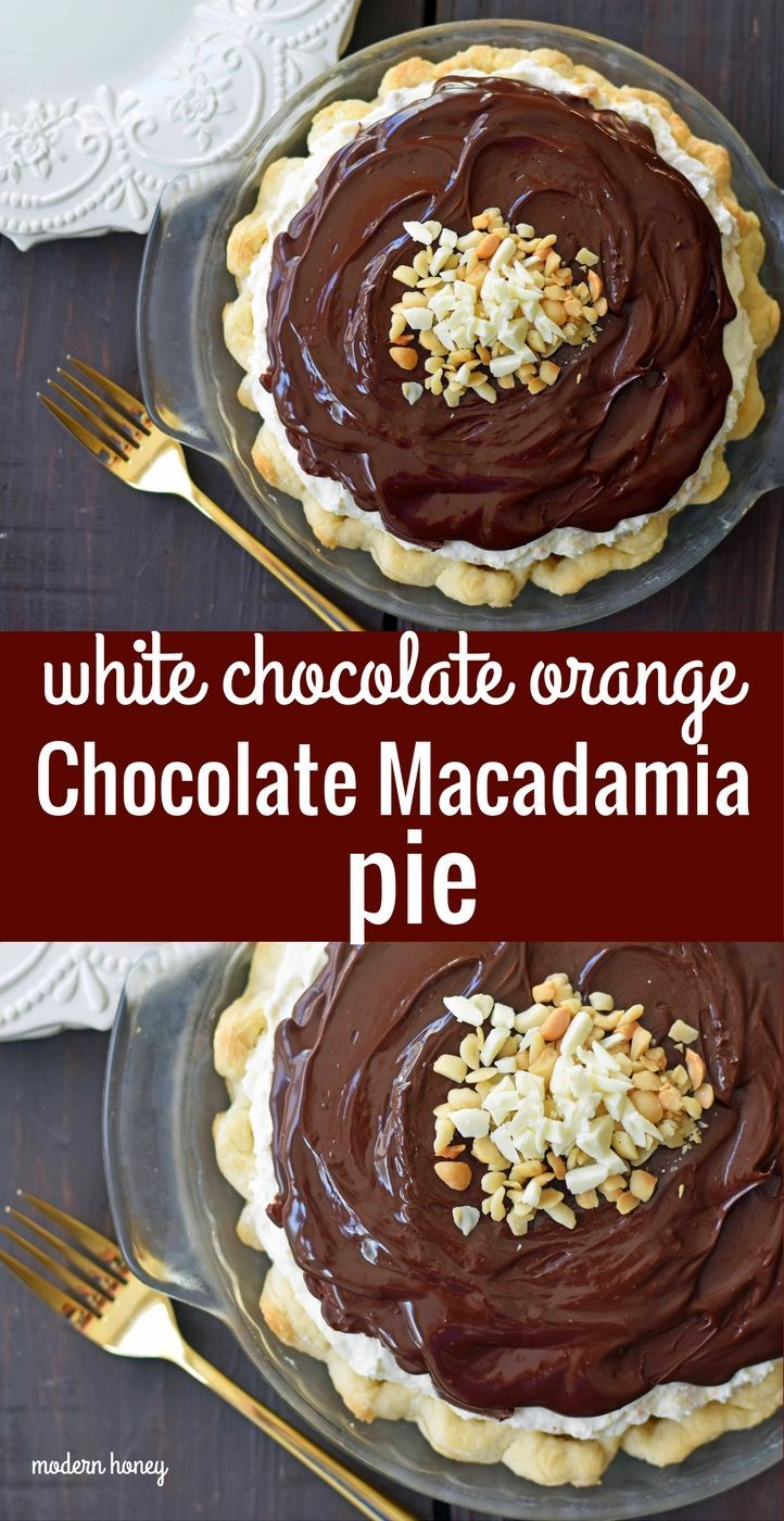 Chocolate Orange and White Chocolate Macadamia Pie. A creamy white chocolate macadamia cream filling topped with silky chocolate ganache and homemade whipped cream. A chocolate lover's dream pie. The perfect Thanksgiving pie. www.modernhoney.com