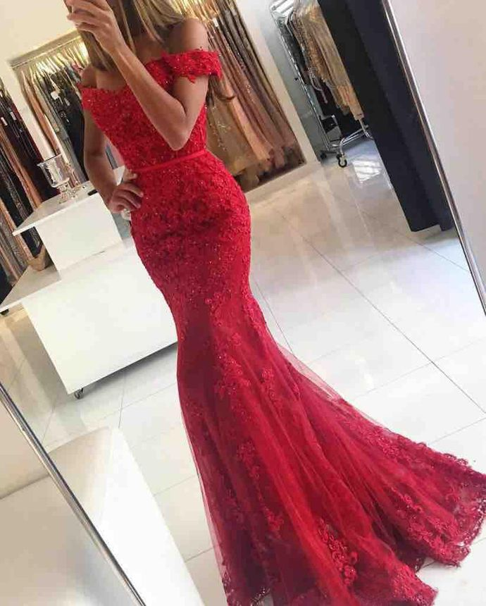Lace Red Mermaid Prom Dresses With Appliques Tulle Beaded Tulle Floor Length Evening Gowns by fancygirldress, $249.00 USD