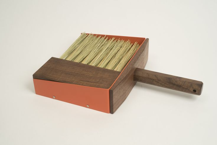 SHIPPING COSTS INCLUDED IN PRICE. The Dustpan Block Set is a self-contained object meant to keep smaller workspaces clean. Its walnut handles and base are sealed with a low V.O.C. polyurethane. The finish makes for sturdy, long-lasting tools and can be cleaned with a damp cloth. Hand brooms are stuf