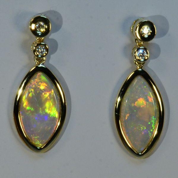 SOLID Australian Opals SOLID 18k Yellow Gold & Diamond Earrings (14965)
