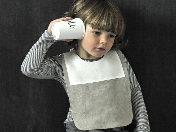 Natural Linen Baby Bib Boy Gift Idea Infant Bib by MadameLampiere
