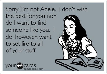 Sorry, I'm not Adele. I don't wish the best for you nor do I want to find someone like you. I do, however, want to set fire to all og your stuff.