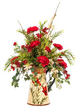 Red and Cream Silk Floral Arrangement in a Poppy Pitcher traditional artificial flowers