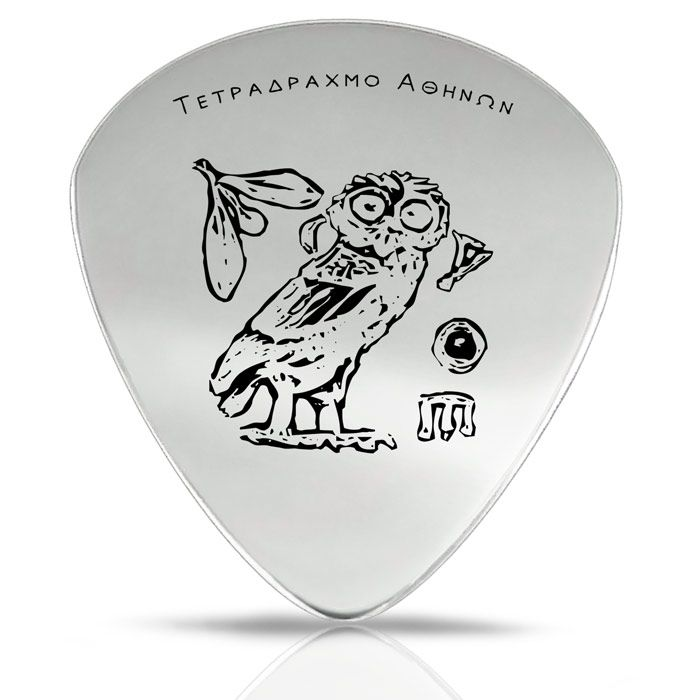 We created a guitar pick with an engraved design of an owl, based on elements of the silver tetradrachm coin of Athens, which is dated to 449-419 B.C. The coin depicts an owl (glauka), with an olive branch and the inscription ΑΘΕ (ATHE).