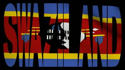 swaziland flag map | Swaziland text with fluttering flag animation - HD stock footage clip