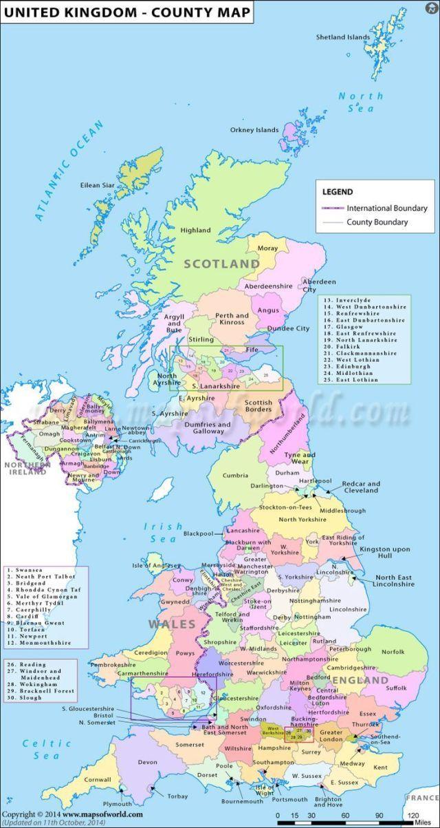 Uk Counties Karte England Karte Grossbritannien Karte