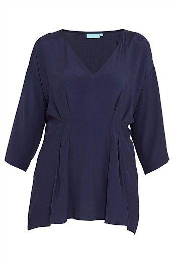 Navy Drape Tunic - Designer Women's Clothes Online