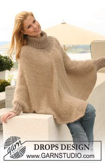 """Hometown - Knitted DROPS poncho in 1 thread """"Symphony"""", 1 thread """"Melody"""" or 1 thread """"Brushed Alpaca Silk"""" + 1 thread """"Alpaca"""" with rib in """"Alpaca"""". Size S to XXXL. - Free pattern by DROPS Design"""