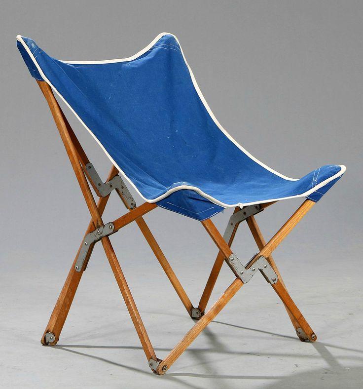 Mogens Lassen Elm Brass And Canvas Folding Chair 1940s