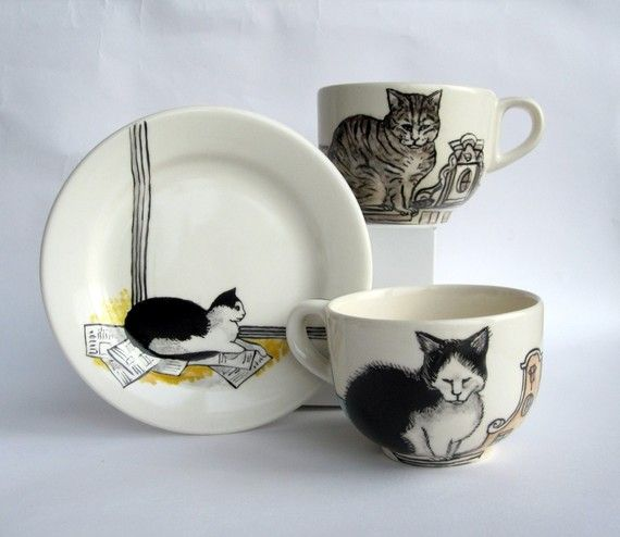 {Amsterdam cats} hand-painted earthenware by Harriet Damave