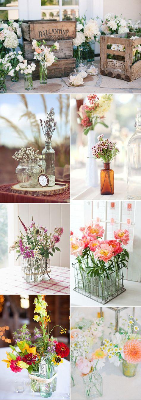 Botellitas de cristal para decorar: unas preciosas ideas para decorar vuestra boda con botellitas de cristal y flores!!