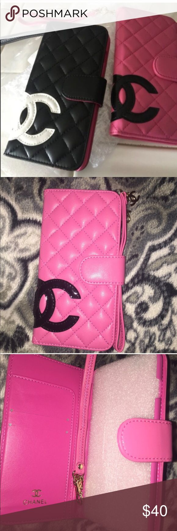 """💕Pink/Black """"Chanel"""" iPhone Wristlet💕 This ONLY fits a iPhone 6/6s! This listing is ONLY FOR 1 CASE! 🚨PRICE FIRM, no offers please😊 Accessories Phone Cases"""
