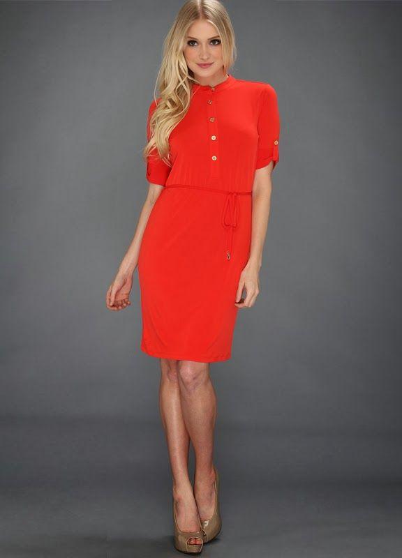 Calvin Klein Red Shirt Dress