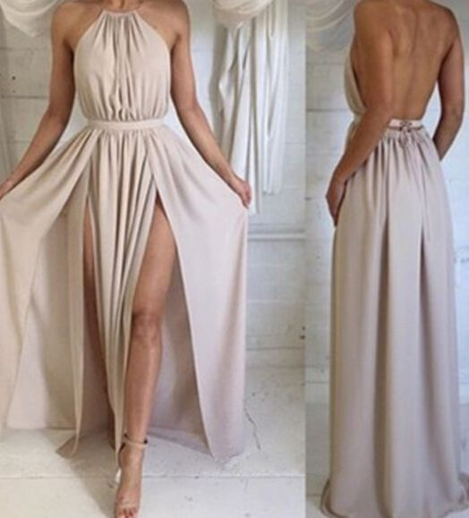 2016 Simple Style A Line Chiffon Prom Dresses Pleat Side Slit Evening Dress Party Formal Dress Gowns