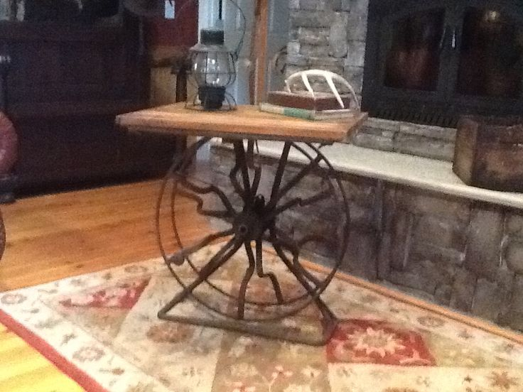 Table made from vintage fire hose reel