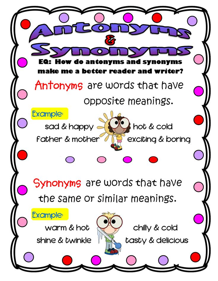 Worksheets 20 Antonyms Words 20 best images about antonyms synonym on pinterest snowball anchor charts and activity books