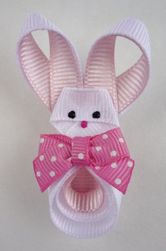 Easter Bunny Hair clip made of ribbon. $5.75