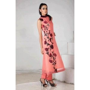 Straight Long Peach Designer Suit With Churidar Pants.