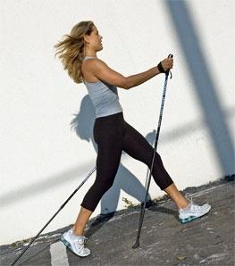 Nordic Walking in concrete sidewalk