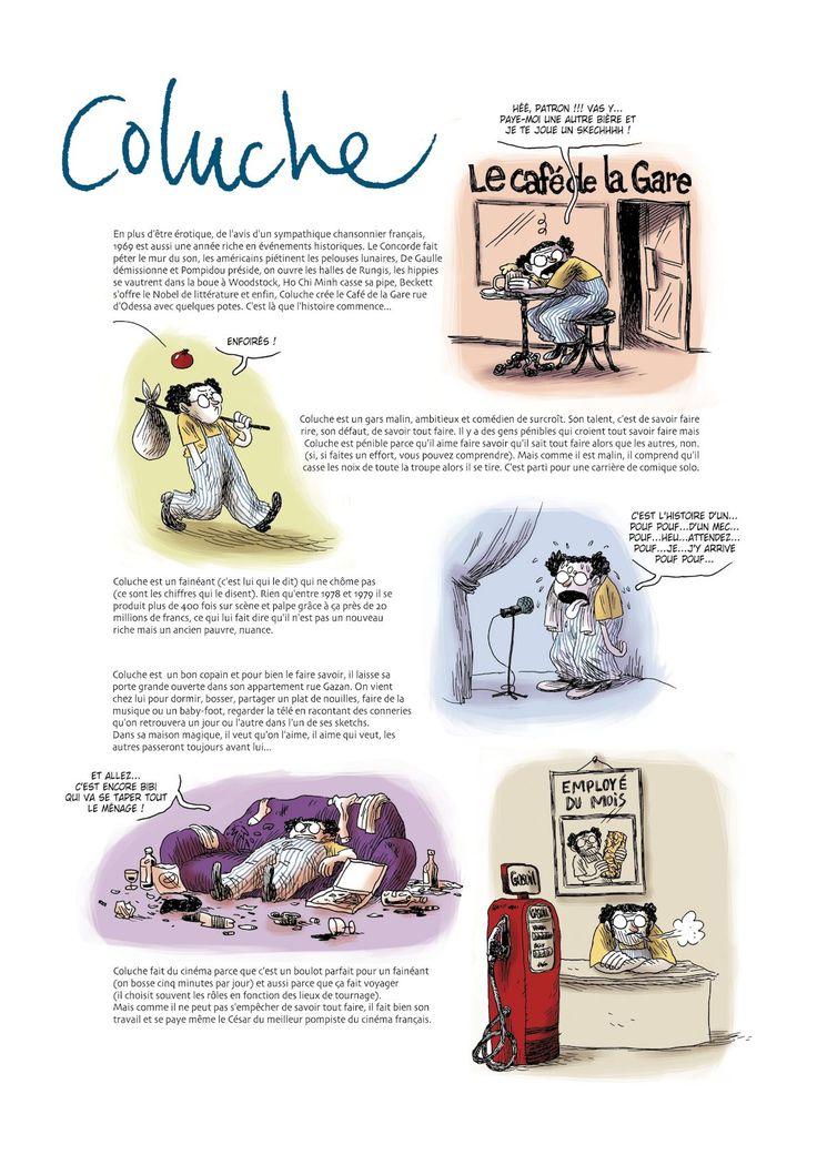 L'histoire de Coluche en 2 pages de bande dessinée