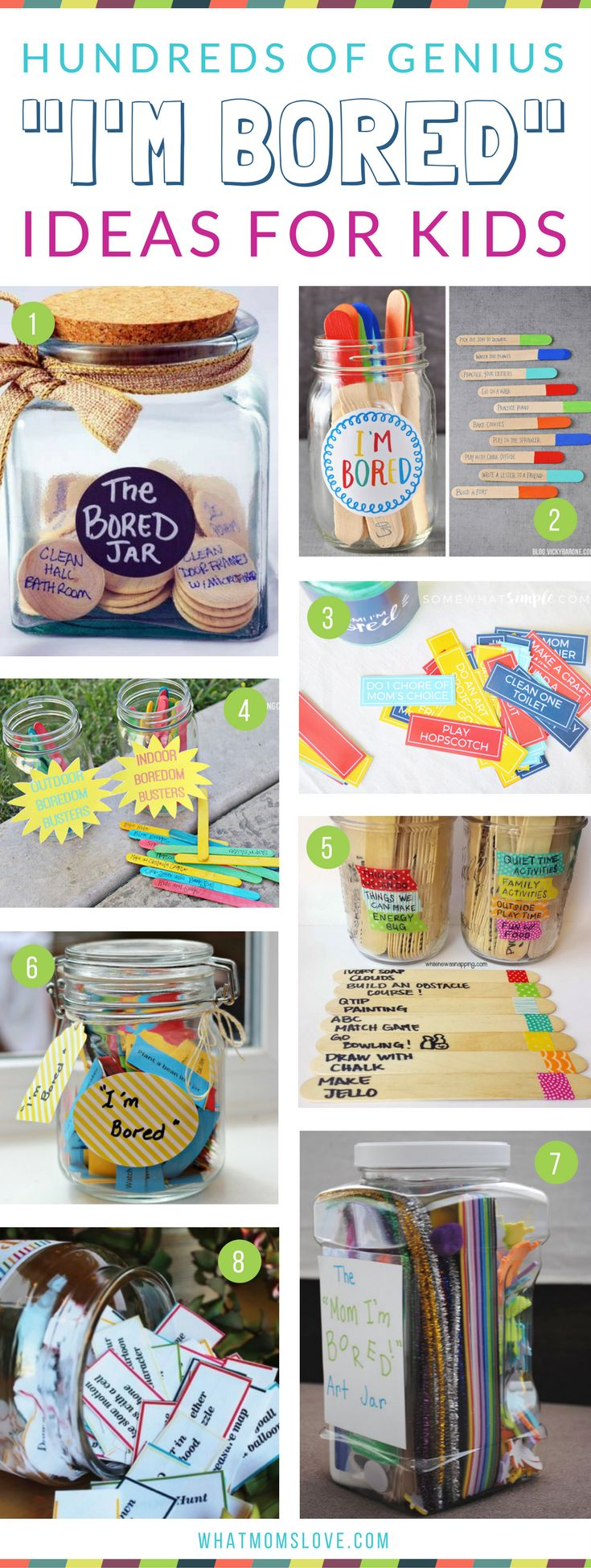 I'm Bored Jar Ideas For Kids | Boredom Busters to keep your kids occupied over the summer, school vacation breaks or when you're stuck inside. Plus more tips, tricks and hacks for an organized summer with your family!