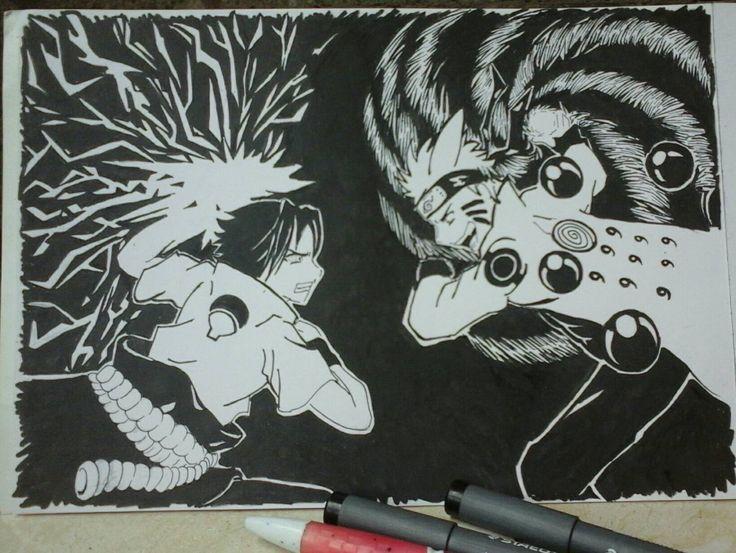 Finish! Naruto vs Sasuke. their face a little bit odd, i think :D