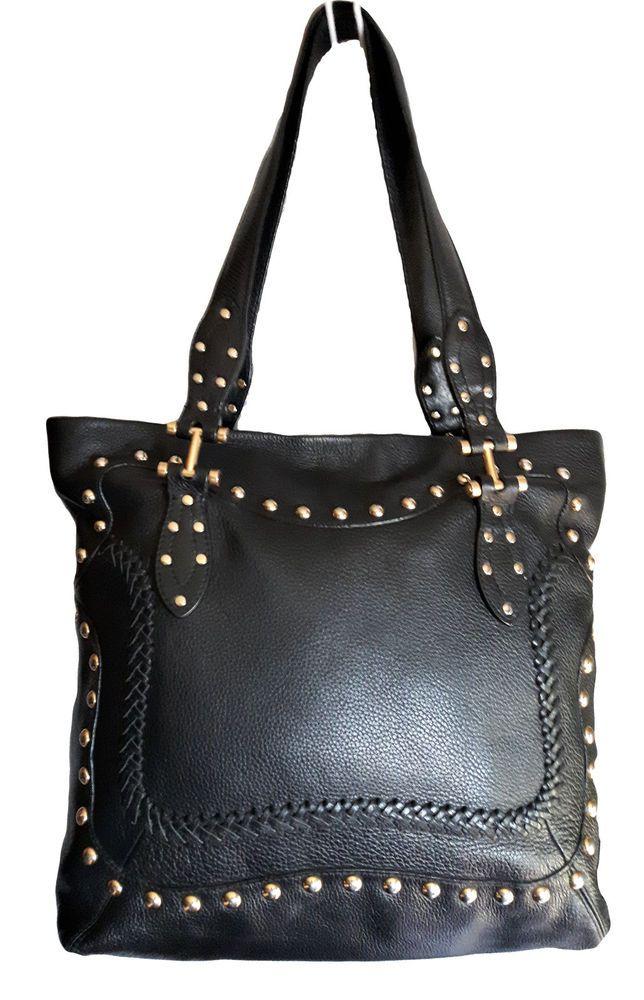 VIA SPIGA Genuine Black pebbled Leather gold Studded rivet Zippered handbag #AuthenticVIASPIGAluxurydesignersatchel #BucketBagHoboSatchelShoulderBag