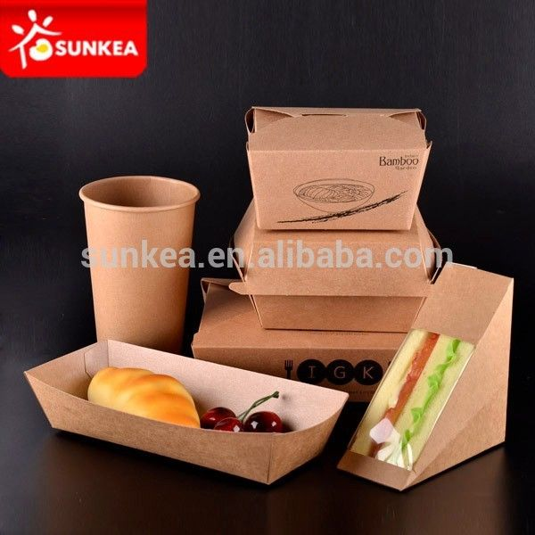 Source Custom made triangle kraft paper sandwich container on m.alibaba.com
