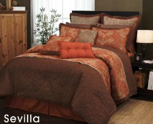 Exceptional Amazon.com: 7 Pieces Traditional Orange And Brown Jacquard Floral Comforter  Set Bed
