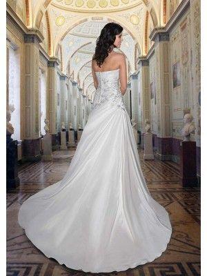 A-Linie Schulterfrei Kapelle Satin Hochzeitskleid mit Applikationen