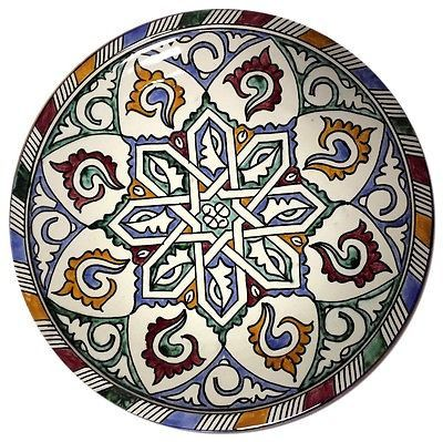 "This magnificent Pasta Bowl Plate in Traditional moroccan design pattern in multicolor mediterranean - handpainted one-of-a-kind the plate is a unique hand painted piece measures 12"" Inches Pottery of"