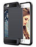 JIAXIUFEN Iphone 5 Hülle [Hybrid Dual] [Karten slot] [harte Rüstung] [erweiterte Anti-Schock] [weich stoßfest] Doppelschicht Schutz extreme Kasten Etui Tasche Schale Hülle für iPhone 5s 5 - Schwarz