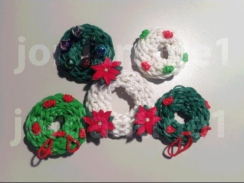 How To Make A Rainbow Loom Christmas Holiday Wreath Charm - Part 1 - YouTube