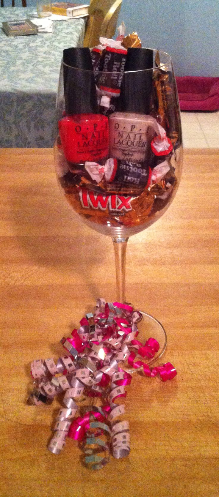 I made this super simple & affordable gift for my friend. It includes her favorite candy, 2 nail polishes, and a wine glass for her to keep! Contact info: Amyc167@aim.com to place an order for you or a loved one! Etsy.com---store name: Lovetew