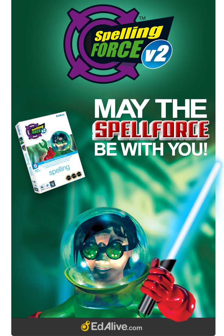 Spelling Force - Boost your spelling power. Ages 5-15+. May the SpellForce be with you!