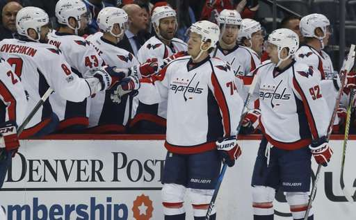 Capitals hold on to beat Avalanche for 6th straight win  -  March 30, 3017:    Washington Capitals defenseman John Carlson, front left, is congratulated after scoring a goal as he passes the team box with center Evgeny Kuznetsov, of Russia, in the first period of an NHL hockey game against the Colorado Avalanche late Wednesday, March 29, 2017, in Denver.