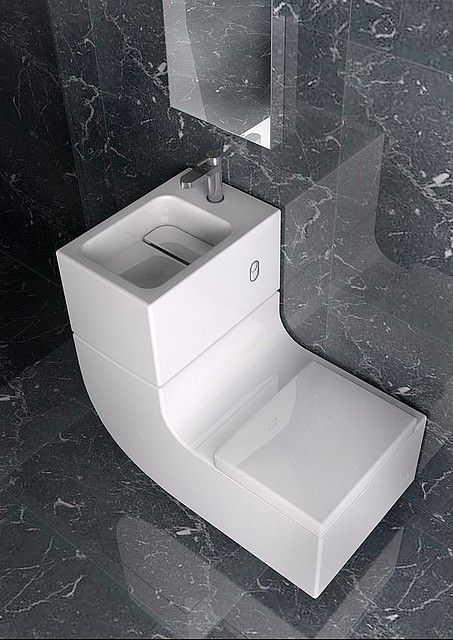 Washbasin Watercloset Combination by Roca - W+W This unique fixture features a gently curved L-shape with the toilet positioned at the lower end, and the sink located higher up for convenience. This washbasin and watercloset combination is perfectly suited to compact lofts and small urban homes where space is at a premium.