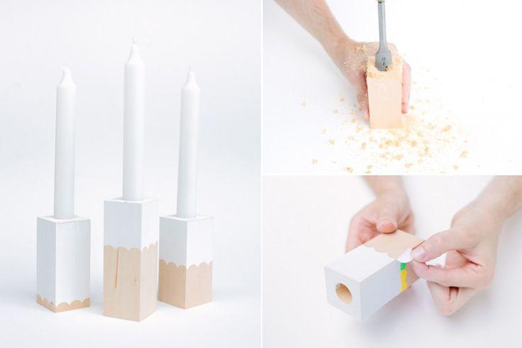 DIY - Wooden Candleholders - Making  Painting - Tutorial