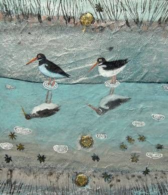 Oystercatcher Reflections. Mixed Media. 25x29cms. Ingeborg Smith. £420