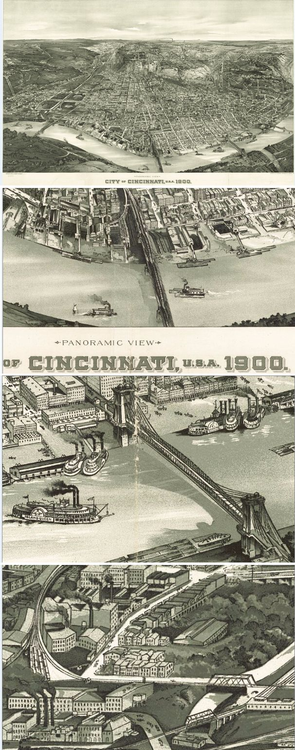 Home Decor   Office Decor   Gift Ideas   Look At These Close Up Of The  Intricate Details On This Antique Wall Map Of Cincinnati From 1900!