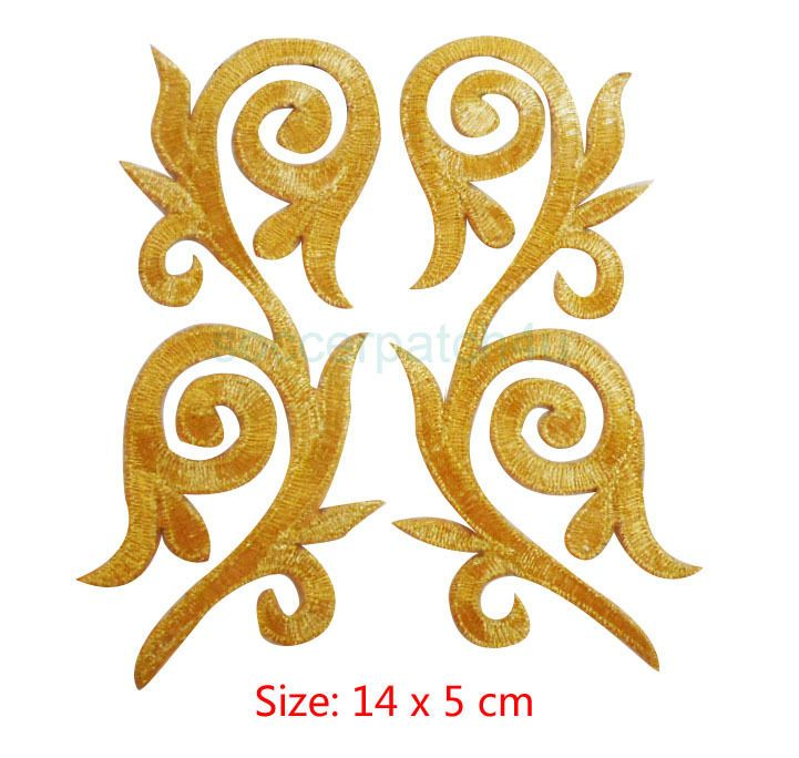 Metallic Gold Embroidery Patch Lace Applique Motif Irish Dance Costume x 1 Pair in Crafts, Sewing & Fabric, Sewing | eBay