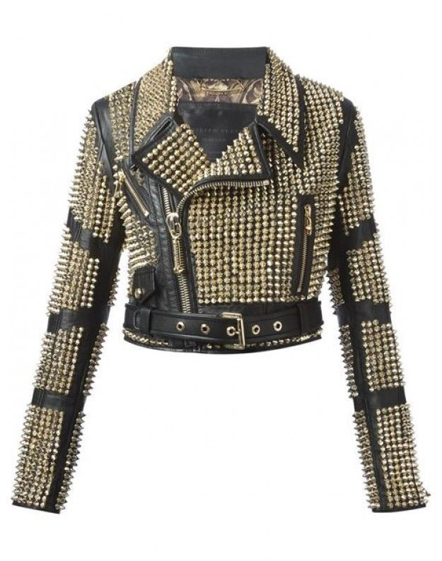 New Philip Plein Womans Black Full Golden Studded Leather Jacket #Handmade #BasicJacket