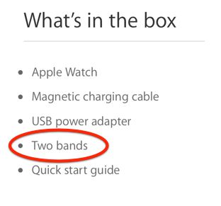 In a strange turn of events, the Apple Online Store page reveals that the Apple Watch Sport actually has two bands bundled in the box. Despite being the cheapest model variant, at $349 for 38mm and...