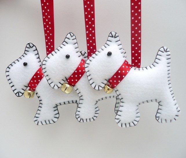 x3 Westie Dog Felt Christmas Decorations