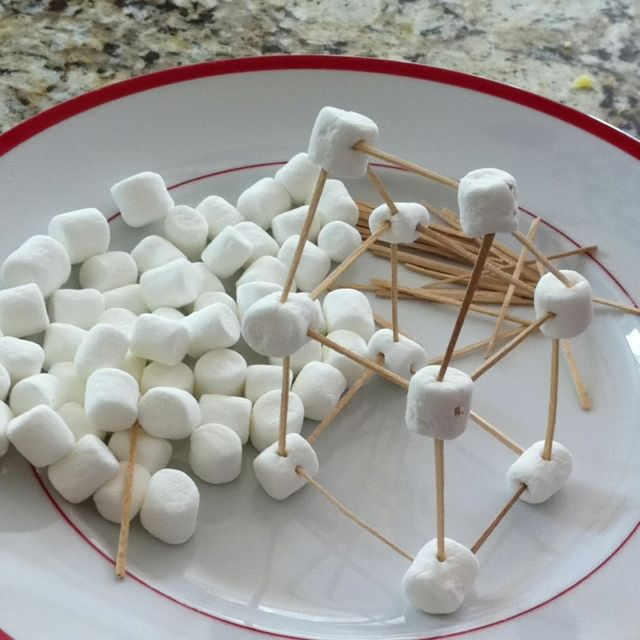 Marshmallow Houses with mini marshmallows and toothpicks. Hours of playdate fun!
