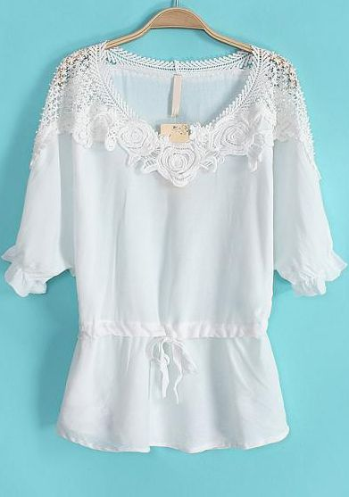 White Hollow Floral Crochet Drawstring Blouse - Sheinside.com