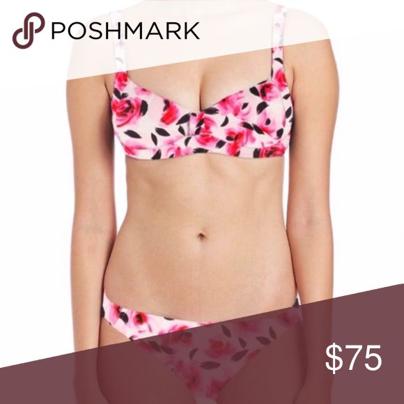 Kate Spade Garden of Roses Cream Two Piece Swim Floral bikini. Double lined. Hygienic liner still intact. Both top and bottom are size large. New without tags!! kate spade Swim Bikinis