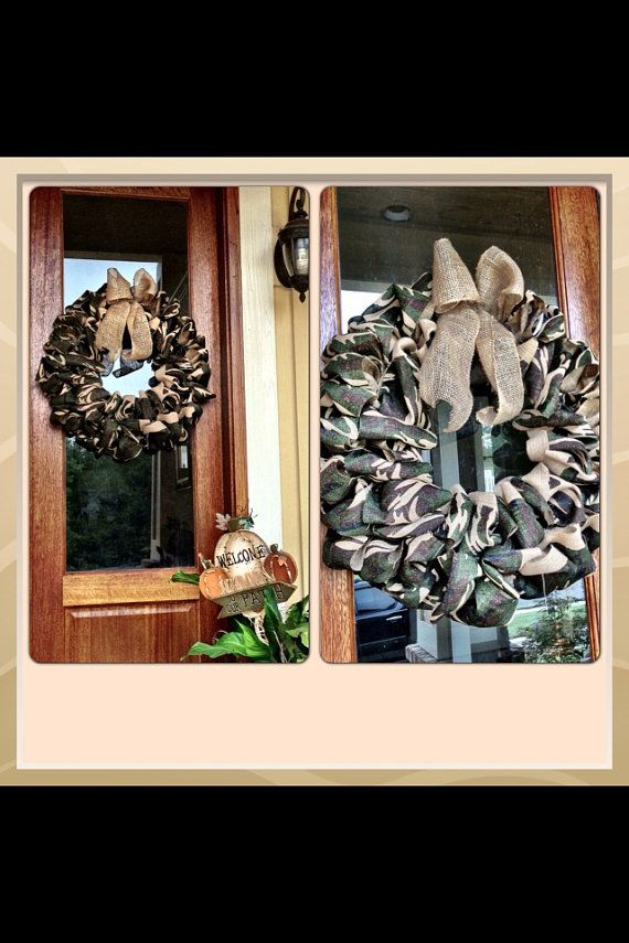 Camouflage Camo Burlap Wreath With Burlap Bow - Hunting  Camp, Ranch, Husband gift, Anniversary, Birthday, Christmas  on Etsy, $60.00