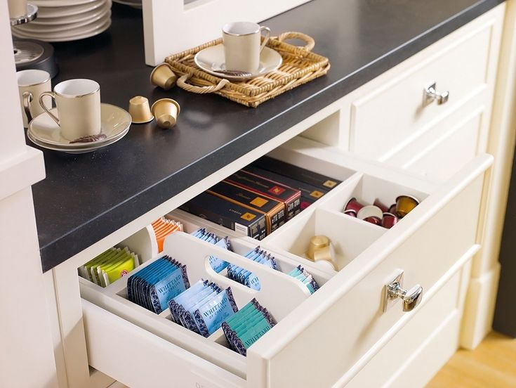 Tea station drawer. Designate a drawer in your kitchen as a tea station. Insert dividers to help organize tea bags, sugar packets, and creamer. Everything you need will be handy and easy to find the next time you want a cup of tea.