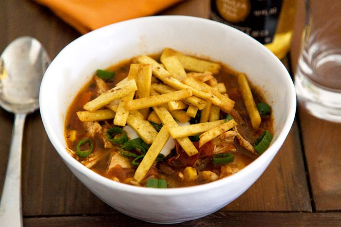 Easy To make 20 minute Chicken Tortilla Soup  NUTRITION INFORMATION Calories 60 Fat 2.5 g Cholesterol 10 mg Sodium 430 mg  Carbohydrates 7 g Fiber < 1 g Protein 3 g Calcium 15 mg Potassium 55 mg  Phosphorus 40 mg INGREDIENTS Olive oil 1 tablespoon Onion ½ diced Garlic  cloves 4 minced Chicken broth 2 cups Low-sodium enchilada sauce (medium) 1  (10 ounce) can Crushed tomatoes* 1 cup Frozen corn 1 cup Cumin ½ teaspoon  Paprika ¼ teaspoon Black pepper ¼ teaspoon Cooked shr...